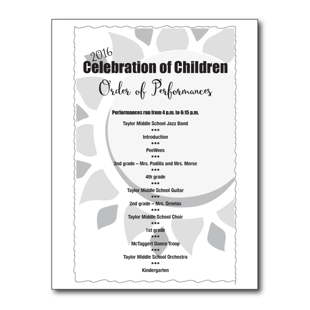 Celebration of Children Flyer #2 back